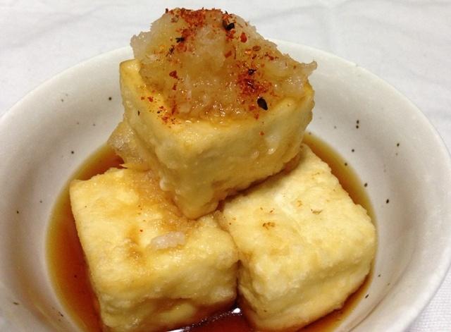 Agedashi Tofu is a kind of Tempura which fries Tofu.